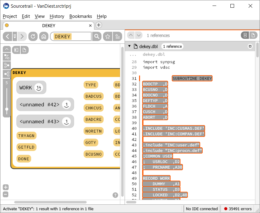 Sourcetrail Function View