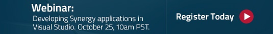 Webinar: Developing Synergy applications in Visual Studio. October 25, 10am PST. Register today.